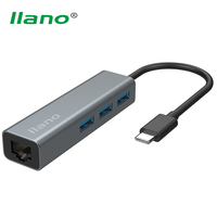 Llano Type C To RJ45 1000Mbps Gigabit Ethernet LAN Adapter 3 Port USB 3 0 HUB