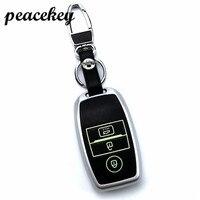 Peacekey Leather Car Key Smart Case Cover Bag Keychain For Kia Rio K2 Ceed Sportage Soul