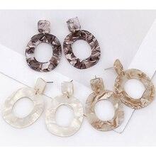 XIYANIKE 2018 New Fashion Acid Acrylic Resin Earrings Dangle Oval Earrings for Women Long Pendant Earrings Fashion Jewelry E122