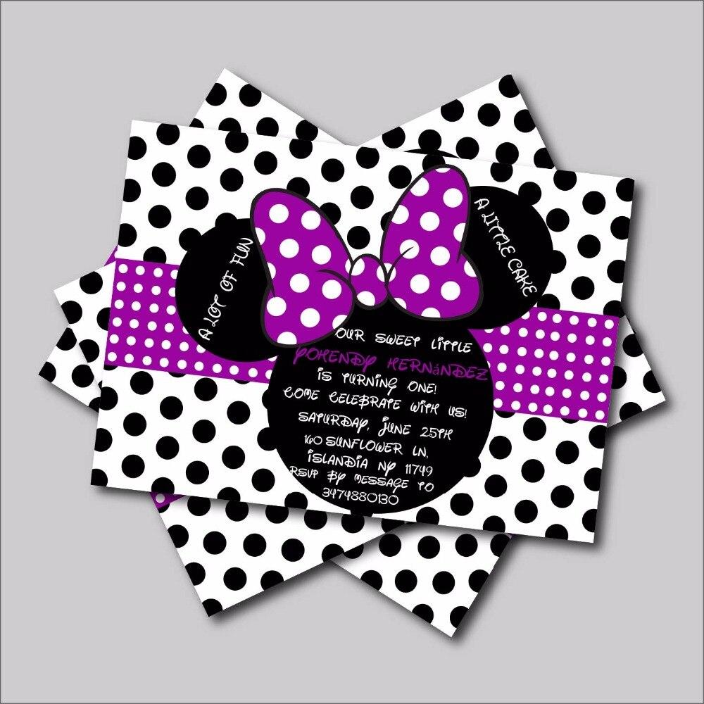 4 88 40 De Descuento 14 Unids Lote Personalizado Púrpura Minnie Mouse Invitaciones De Cumpleaños De Minnie Mouse Bebé Ducha Invita A Fiesta De