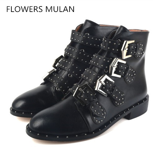 Hot Selling Fashion New Boots Sexy Pointed Black Genuine Leather Four Buckle Stud Lady Winter Boots Ankle Cool Motorcycle Boots bluetooth пульт palmexx px bt game foto black