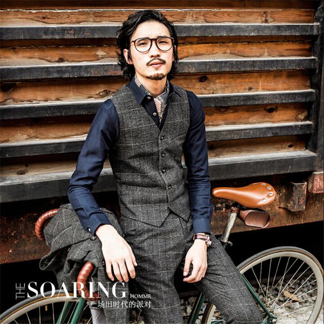 Estilo inglaterra homens outono colete de algodão do vintage xadrez homens coletes à prova de terno engrossar quente slim fit moda masculina colete a2918