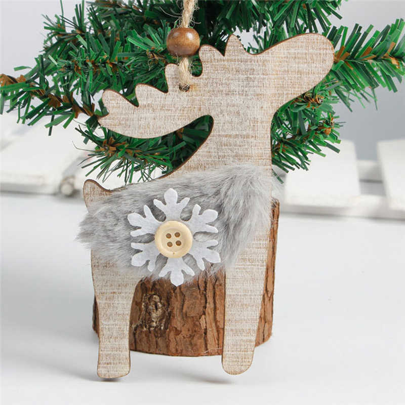 C Snowflake Wood Embellishments Rustic Christmas Tree Hanging Ornament Decor christmas decorations for home FO04