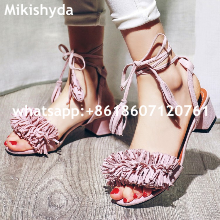 Summer 2016 Nigerian Shoes And Matching Bags Pink Leather High Heels Fringed Peep Toe Sandals Eur33-43 Womens Dress Shoes Chunky summer 2016 nigerian shoes and matching bags pink leather high heels fringed peep toe sandals eur33 43 womens dress shoes chunky