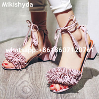 Summer 2016 Nigerian Shoes And Matching Bags Pink Leather High Heels Fringed Peep Toe Sandals Eur33 43 Womens Dress Shoes Chunky