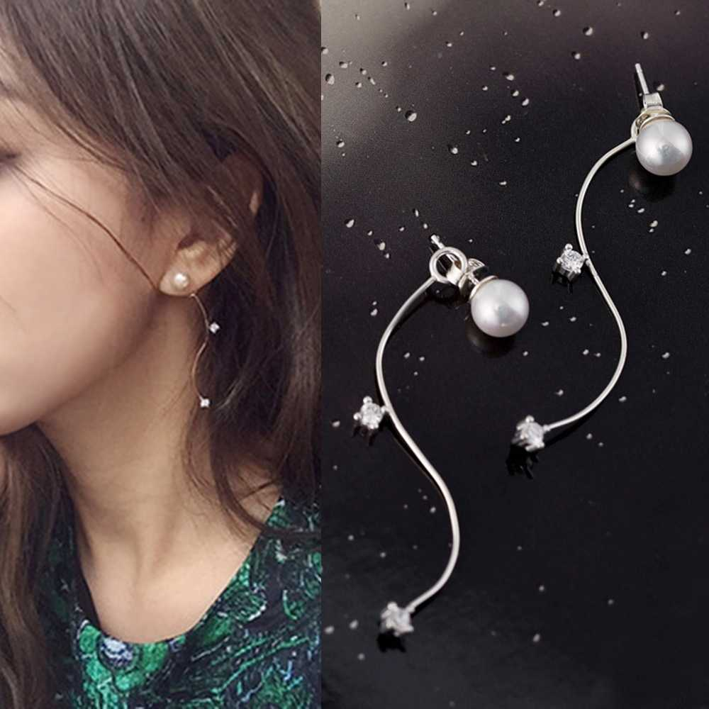 SUKI New Wave S Shape Pearl Women Hanging Stud Earring with CZ Charm Arc Long Pendant Earrings for Girls Female Jewelry