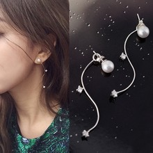 SUKI New Wave S Shape Pearl Women Hanging Stud Earring with CZ Charm Arc Long Pendant Earrings for Girls Female Jewelry(China)