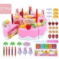 37Pcs Xmas Toy Birthday Cake Toy DIY Fruit Cream Xmas Gift Set Children Kids Pretend Play Kitchen Toys