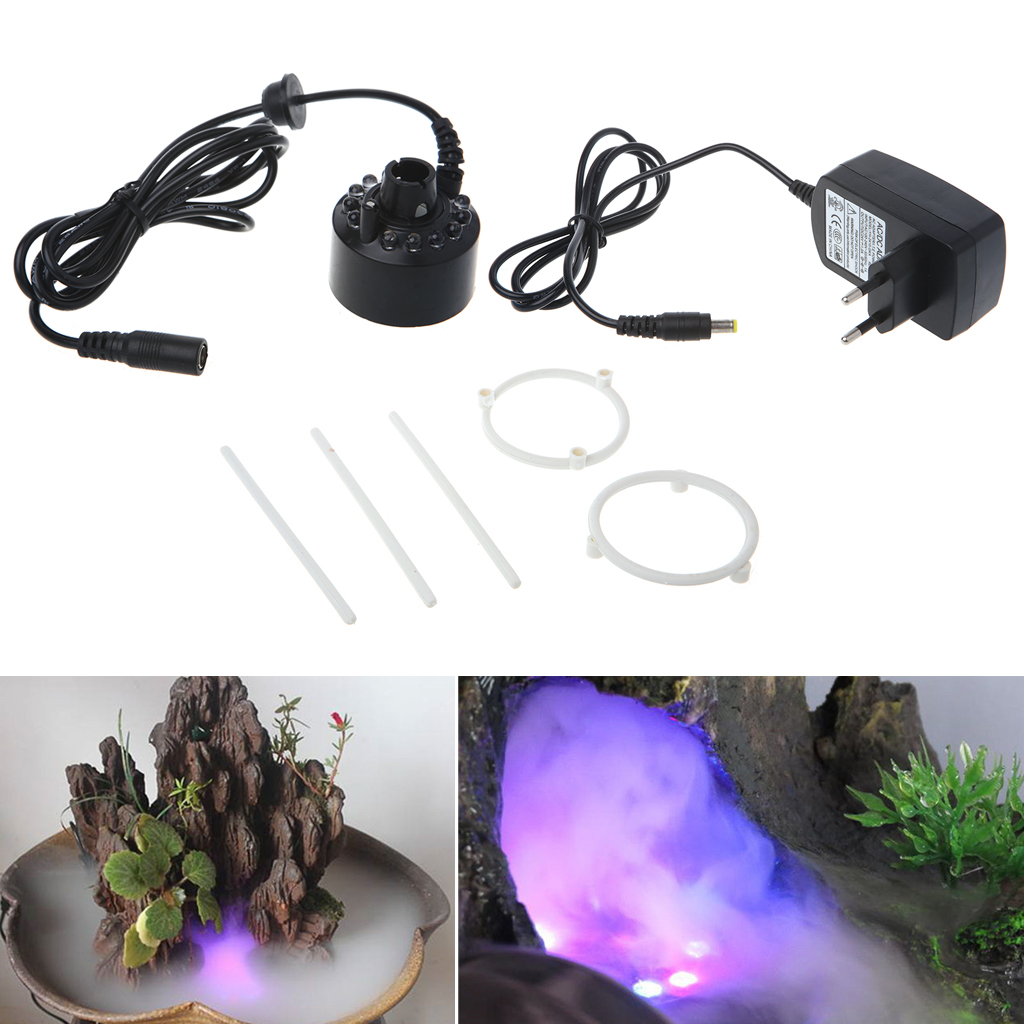12LED 20mm Metal Super Ultrasonic Mist Creator Fogger Nebulizer Water Fountain  EU Plug
