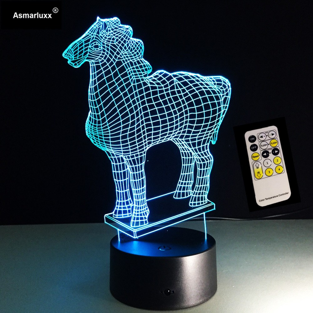 Remote And Touch Switch New Horse 3D LED Lamp Visual Led Night Lights For Kids USB Table Lampara Beside Lamp Baby Sleeping Night