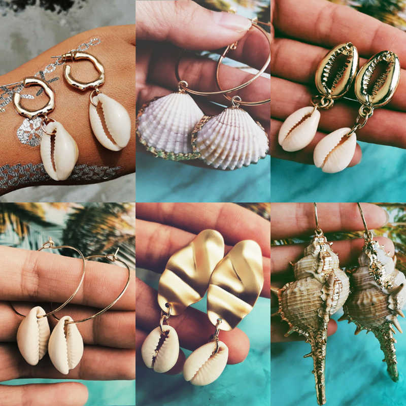 Bohemian Sea Shell Conch Metal Drop Earrings For Women 12 New Big Circle Dangle Earring 2019 Fashion Female BOHO Shell Jewelry