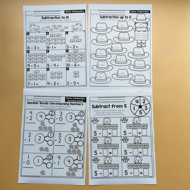 Kindergarten Math Comparing Numbers Homework Paper English Learning Material Practice Reading Book Kids Montessori Workbook 3