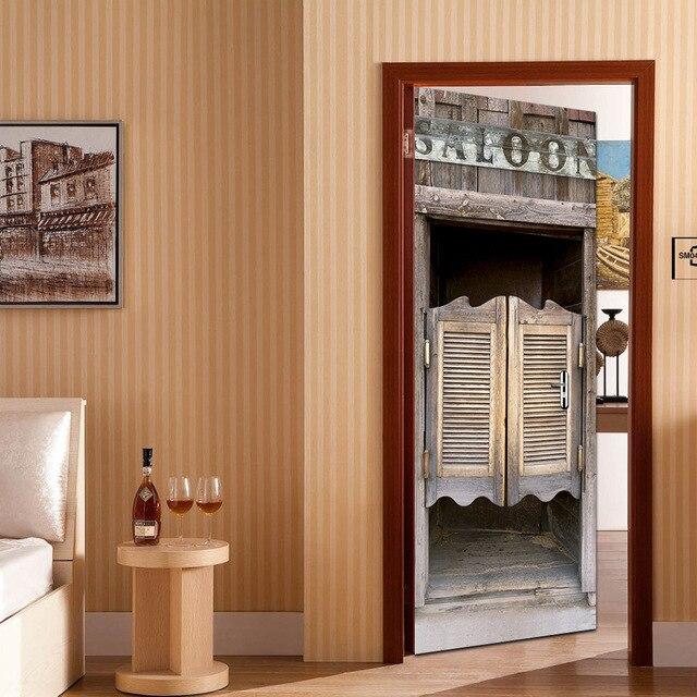 Imitatie Saloon Hotel Deur Stickers Woonkamer Houten Deuren ...