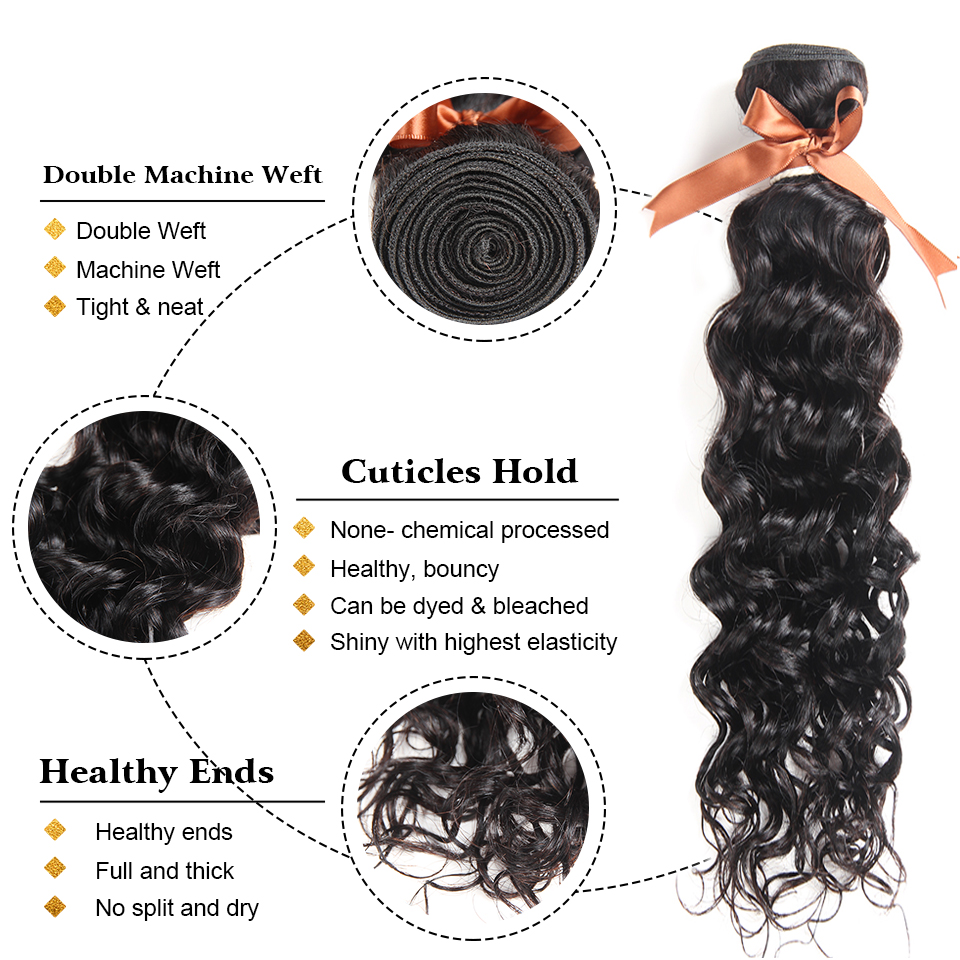 Image 3 - Joedir Water Wave Bundles With Closure Brazilian Human Hair Weave Bundles With Closure 3 Remy Wet And Wavy Bundles With Closure-in 3/4 Bundles with Closure from Hair Extensions & Wigs