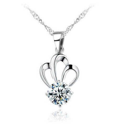 Austrian Crystal Necklace Women Pendants 3layer White Gold Overlay Crystal Crown Charms Pendant Fashion Jewelry For Women 2016