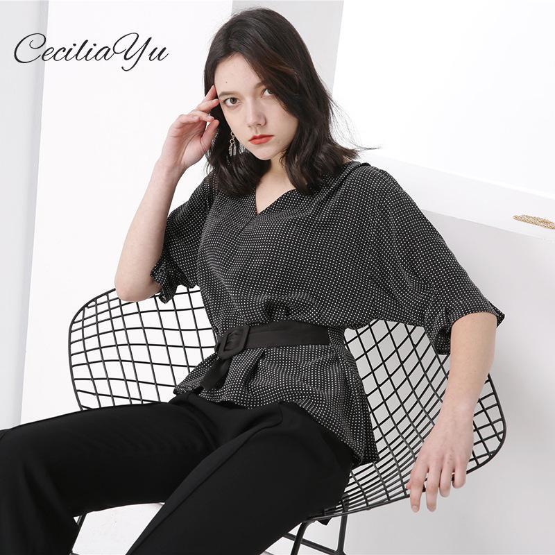 2019 été nouveau Style 100% T-shirts haut pour femme soie Dot mode T-shirt à manches courtes hauts amples Ceciliayu