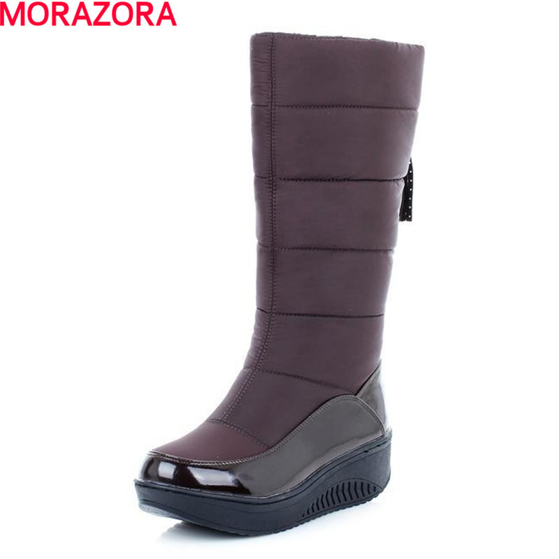 MORAZORA Fur inside winter warm snow boots slip on platform women boots with charm round toe wedges heel mid calf boots woman winter warm platform height increasing slip on snow boots fashion round toe dress calf boots black pink white