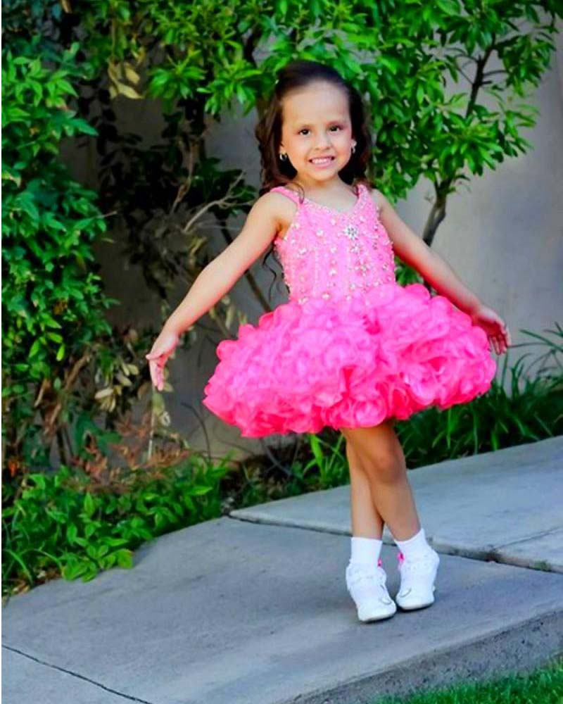 Kids Shiny Crystal Beading Short Ball Gown Tiered Organza   Flower     Girl     Dress   for Weddings Party Pageant Custom Made