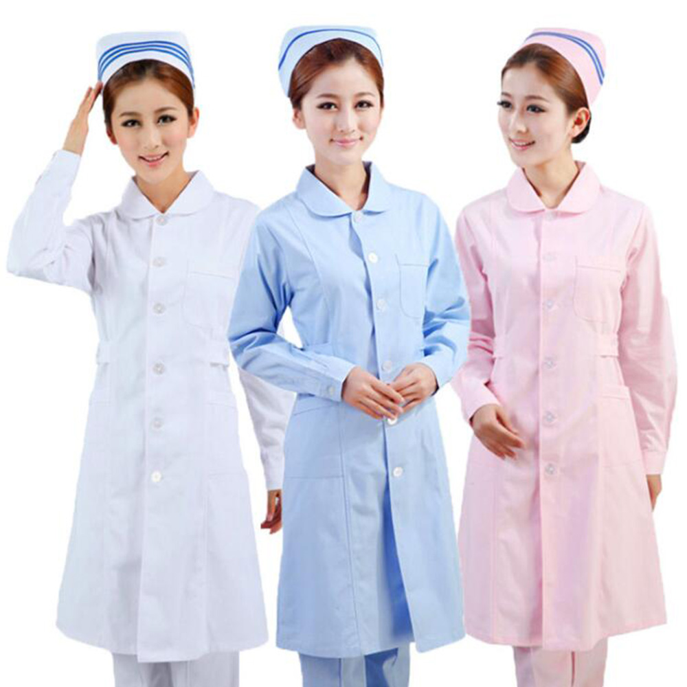 Hight Quality Long-sleeved Round Neck Nurses Medical Beauty Salons Pharmacy Semi-permanent Overalls Doctors Wear White Coats