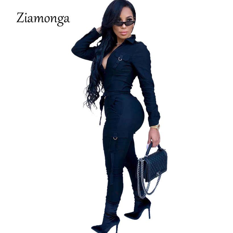 Ziamonga Осень Зима Повседневное Комбинезоны для малышек женские комбинезон с длинным рукавом карманы на молнии Тонкий элегантны