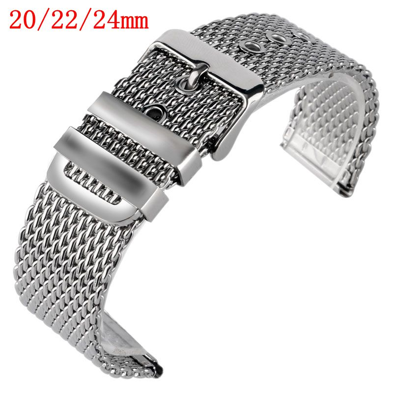 цена на 20mm 22mm 24mm Solid Link Stainless Steel Mesh Bracelet Men Replacement Wrist Band Watch Strap Silver Pin Buckle Watchband