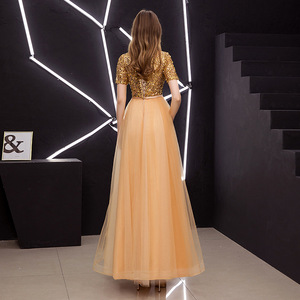 Image 4 - A lijn Avondjurken Elegante O hals Lovertjes Lange Vrouwen Formele Prom Dress Korte Mouw Lace Up Plus Size Lange Partij Jassen e378