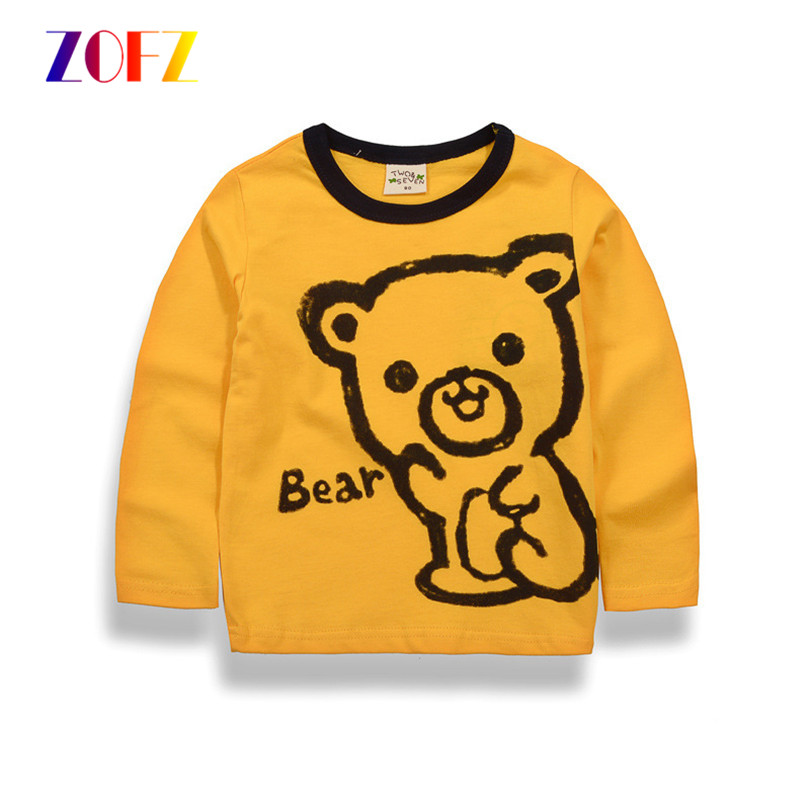 ZOFZ 2017 New Arrival Baby Girls Clothes Kids Cartoon Long Sleeve T-Shirts Cotton Boys Clothing Cotton Children Tee Shirts