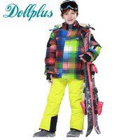 Russian Winter Boys Ski Suit Windproof Waterproof Boys Fleece Jacket Bib Pants Boys Clothing Set For