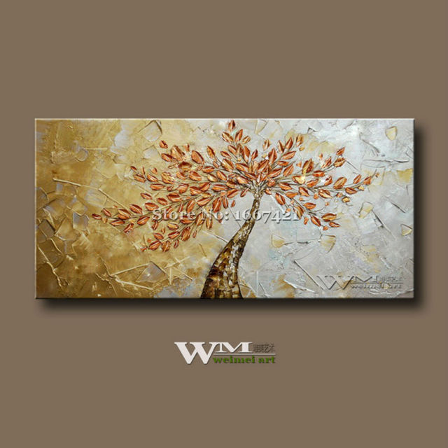 Modern Hand Painted Rich Tree Abstract Painting Background Single Sofa Of The Sitting Room Dining Stereograph