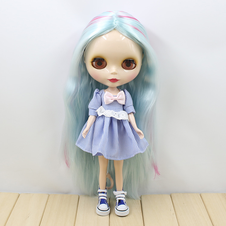 Blyth Nude Doll 280BL KF412107 24 normal body no bangs central cut blue purple Hair Suitable For DIY Change BJD Toy For Girls purple curly long hair with bangs normal body nude doll suitable for change diy 280bl732 117