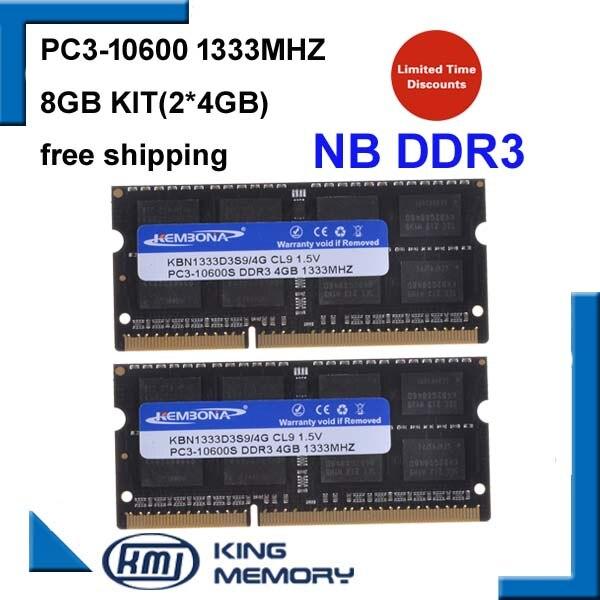 KEMBONA DDR3 1333 Mhz 8 GB (Kit de 2,2X4 GB) PC3-10600 1333D3S9/4G Marque Nouveau SODIMM Mémoire Ram memoria ram Pour ordinateur portable