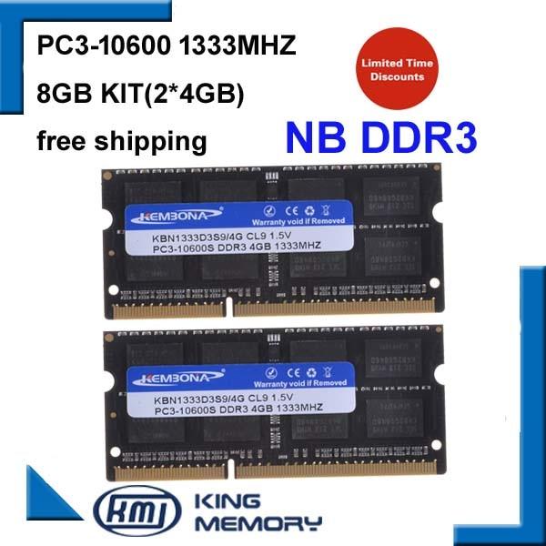 все цены на KEMBONA DDR3 1333Mhz 8GB (Kit of 2,2X 4GB) PC3-10600 1333D3S9/4G Brand New SODIMM Memory Ram memoria ram For Laptop computer