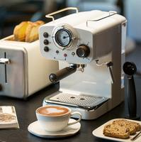 15Bar Coffee Machinemaker Retro Style Semiautomatic Italian Steam Type Milk Foam 2 and 1 Handles Easy To Use Espresso Machine