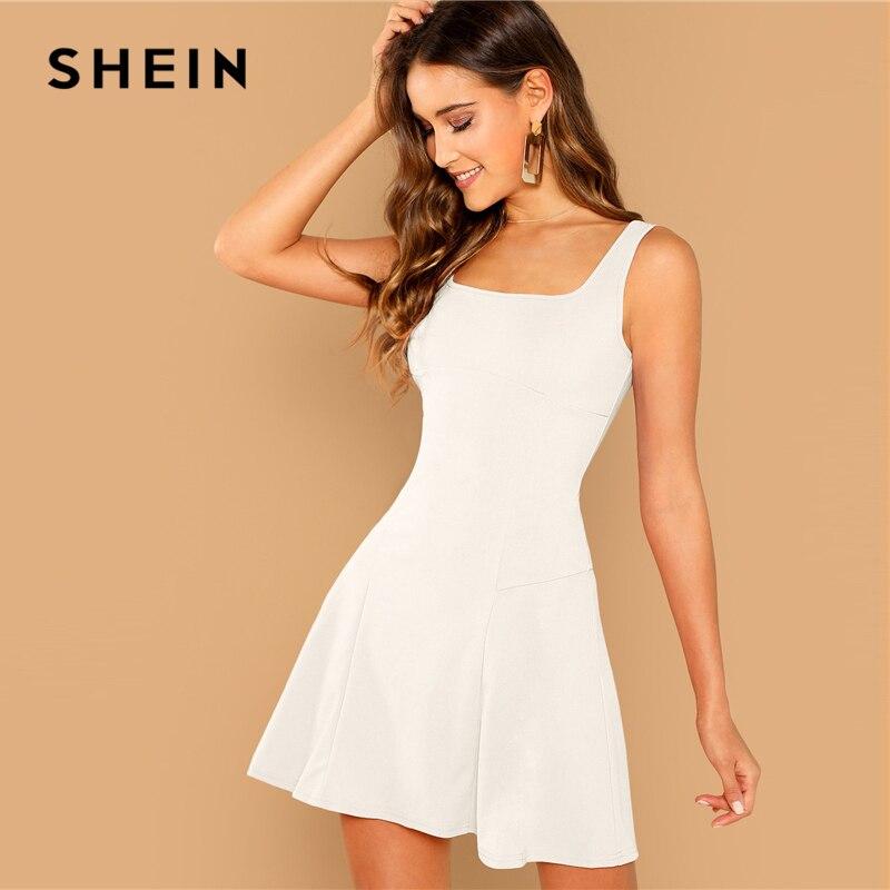 Шеин на выход белый Fit Flare Твердые рукавов бретели для нижнего белья молния короткое однотонное платье элегантный для женщин осен