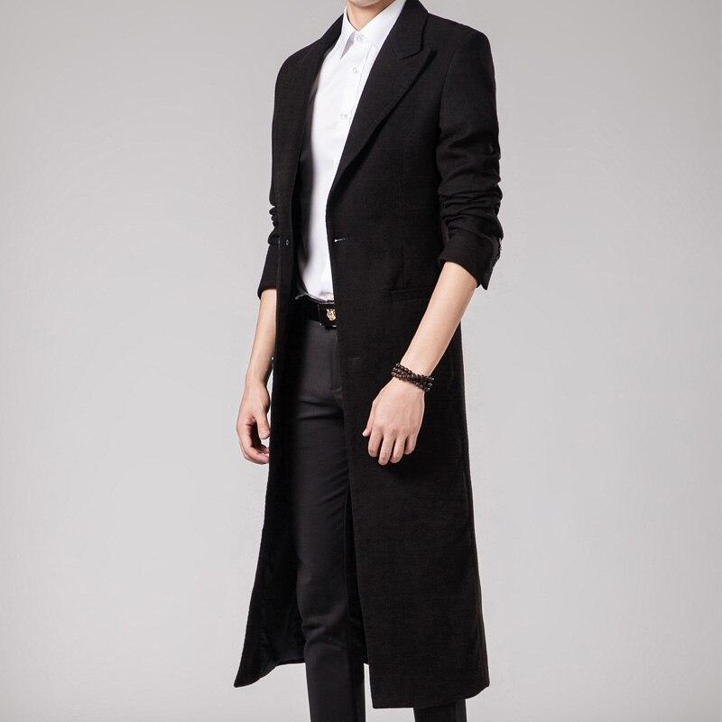 2017 New Long Trench Men Wool Trench Coat Men Slim Fit Overcoat ...