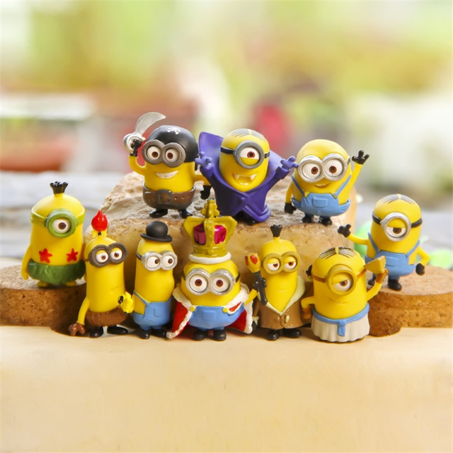 10pcs Set 3D Small Minion Miniatures Figurines Toys