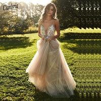 Boho Wedding Dress Spaghetti Strap Appliques A Line Bride Dress Beach Pink Tulle Wedding Gown Free Shipping gelinlik