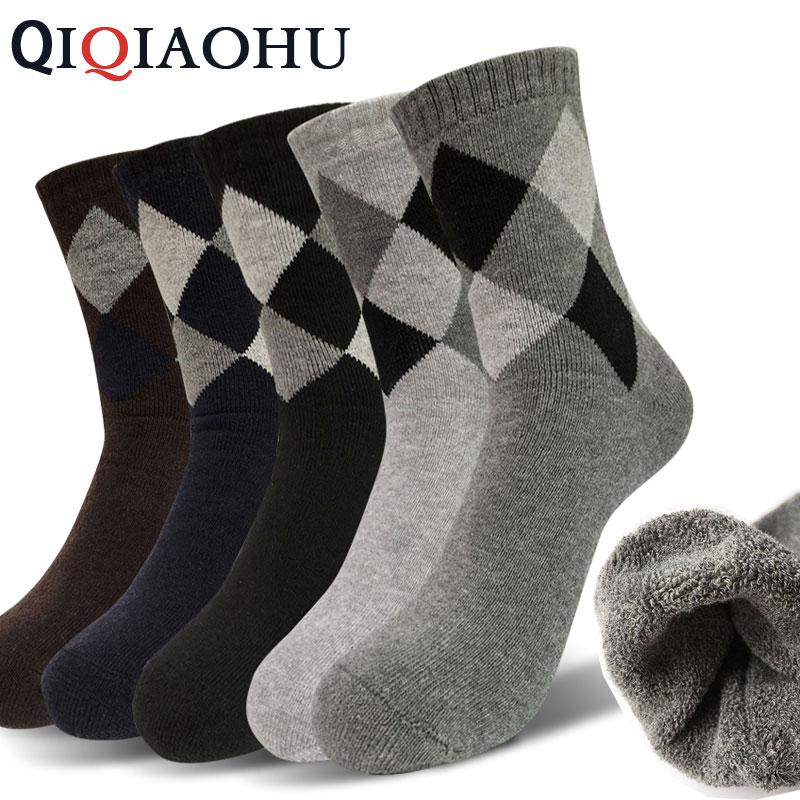 5Pairs/Set Cotton Warm Fleece Winter Socks Men Thermal Dress Argyle Sokken Male High Casual Business Blace Gray Thickness Socks