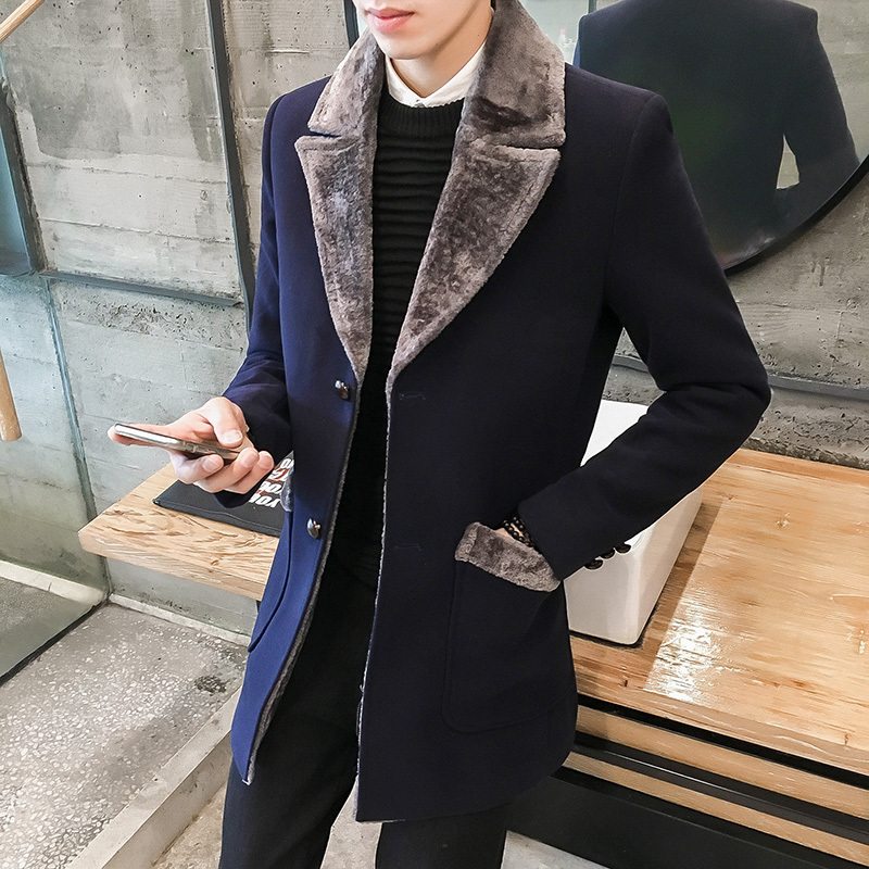 Fur Collar Trench Coat Men Wool Blend Winter Coat Slim Fit Men Manteau Homme Mid-Long Black Grey Mens Trench Coat Blue S~5XL(China)