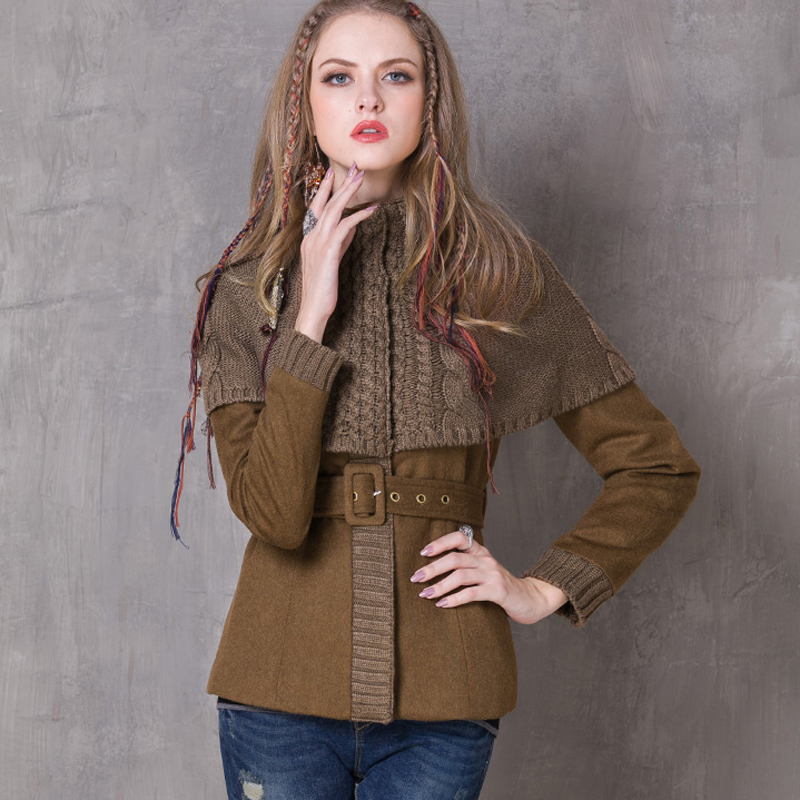 Winter Women Coat 2018 Vintage New Wool Coats Long Sleeve Knitting Patchwork Belted Bodycon Casacos Ethnic Retro Casaco Feminino ...
