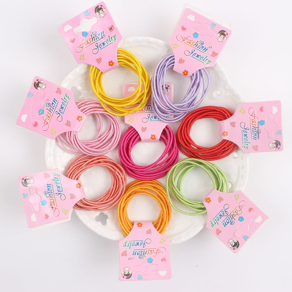 Color cards for kids - 2017 New 10pcs Lot Card Packaging 10 Color Rubber Band Elastic Hair Bands Hair Accessories Kids Gum Hair Styling Hj862