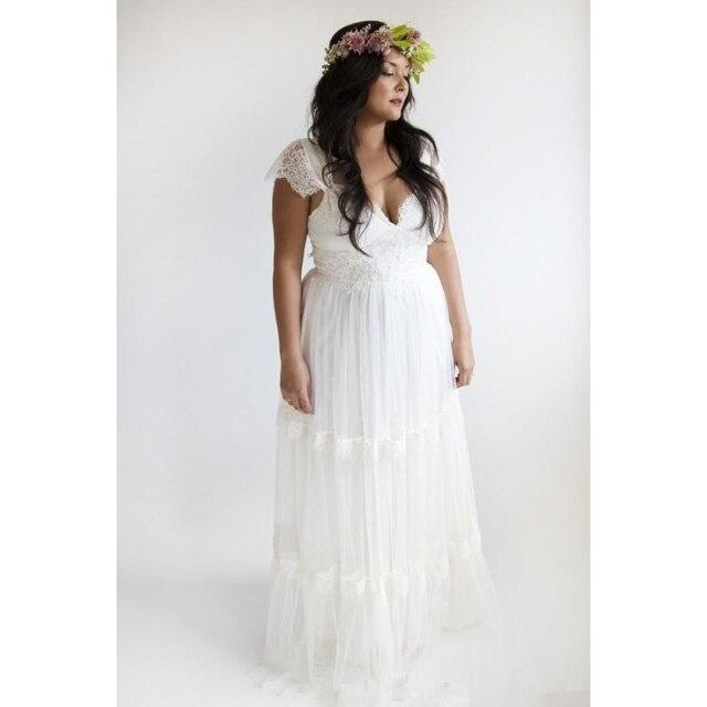 2016 Plus size white Beach Wedding Dresses Lace appliques bridal ...