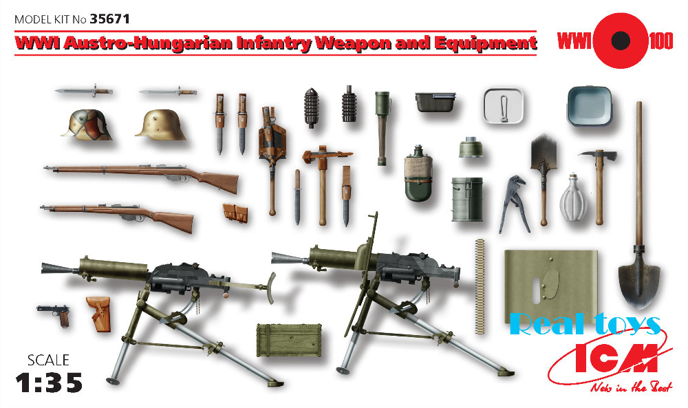 New Arrivial ICM model 35671 1 35 WWI Austro Hungarian Infantry Weapon and Equipment plastic model