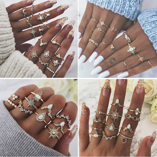 MIX Styles Bohemian Vintage Gold Crown Water Drops Star Geometric Crystal Ring Set Women Charm Joint Ring Party Wedding Jewelry