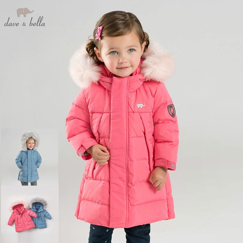DB8835 dave bella winter baby unisex down jacket children white duck down padded coat kids hooded