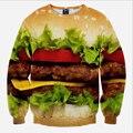 Осень 2017 3D Печатных Толстовка Большой Гамбургер Бесплатная Доставка Мужские толстовки и свитера Специальные Moleton Спортивный Костюм Кофты