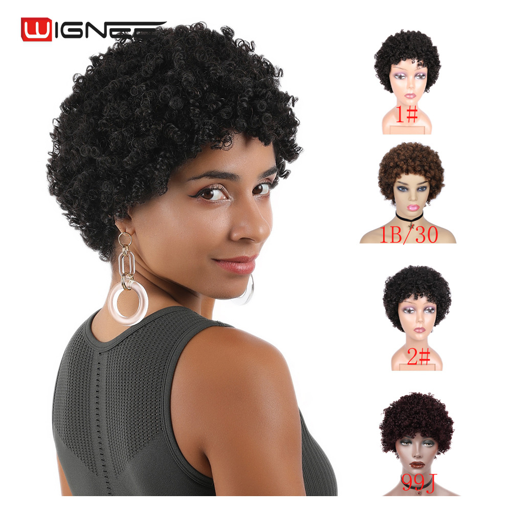 Wignee Short Afro Kinky Curly Human Hair Wigs For Black/White Women Remy Brazilian Glueless Curly Human Wig 2#/1#/99J/Brown Hair