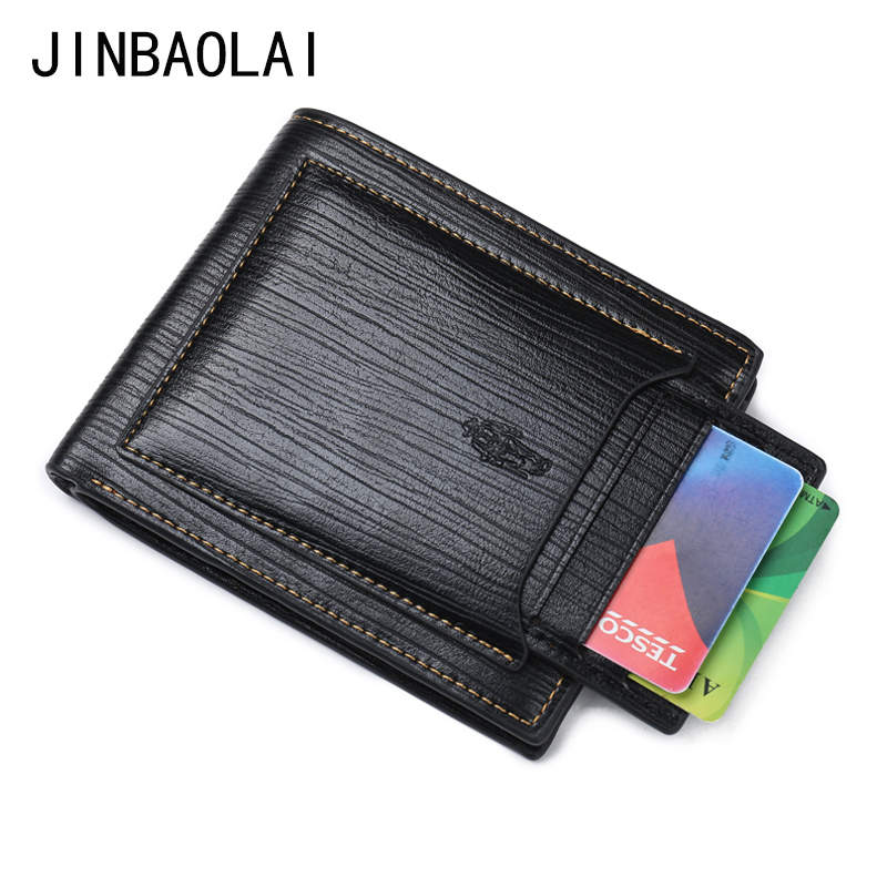 JINBAOLAI Fashion Men Leather Bifold Wallet Front Pockets Purse With Removable Credit Card Holder Wallets zelda wallet bifold link faux leather dft 1857