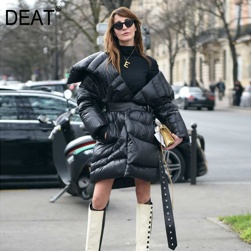DEAT 2019 New Winter Warm Turn-down Collar Duck Down High Quality Down Jacket Female Winter's Jacket Belt LE87101
