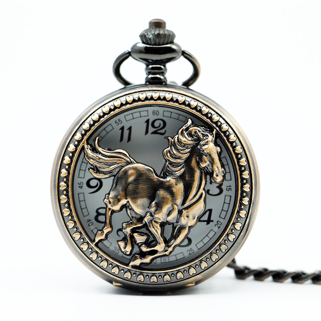Cavallo Antico Del Pendente Intagliato Mezza Hunter Rame Dell'annata In Acciaio